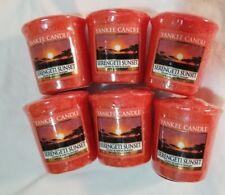 Yankee Candle Votive Candles: SERENGETI SUNSET Melt Wax Orange Fresh Lot of 6