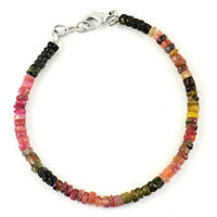55.00 Cts Untreated Watermelon Tourmaline Round Faceted Beads Bracelet (DG)