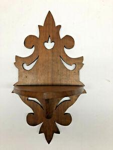 "14"" Victorian Style Walnut Gingerbread Wood Wall Hanging Display Shelf"