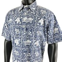 Reyn Spooner Nene Bird Flag Reverse Print Hawaiian Pullover Shirt Blue Mens XL