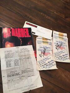 1990 DIE HARD 2 Call Sheet RARE Bruce Willis ON SET PHOTOS PAYROLL SHEET FOLDER