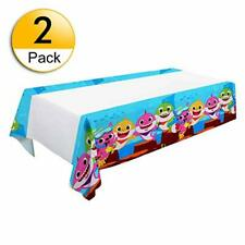 2 PCS Shark Baby Themed Tablecloth 70'' x 42'' Birthday Party Supplies Decoratio