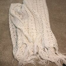 Vintage crocheted afghan white With Fringe 64 X 33 large