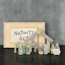 Hand Carved Hand Painted Wooden Nativity Boxed Set/Scene East of India Xmas New