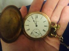 1909 Howard Pocket Watch With Accessories Working Antique Gold Plated READ DESC