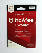 Retail McAfee LiveSafe 2018: PC Mac Android iOS, 1 Year UNLIMITED Devices