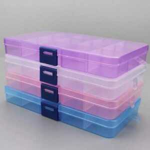 Plastic Bead Storage Organizer  6 Pcs, Containers for Jewelry Crafts 15 Grid Box