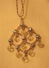Sparkly Openwork Scallop Rhinestones Belled Bead Dangle Goldtn Pendant Necklace
