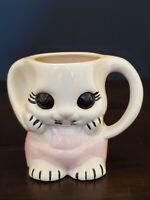 Vintage Ceramic Head Planter Mug Big Eye Bunny Face Pink Overalls