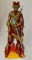 "Vintage Christmas Halloween Krampus Devil Paper Diecut Germany 1.5x7""in Tall NOS"