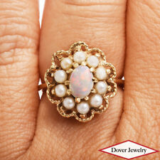 Estate Pearl Opal 10K Yellow Gold Flower Cocktail Ring NR