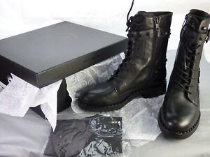 BNIB ASH WITCH BIS Buckle Studded Goth Punk Biker Boots Black Leather UK 4 E 37