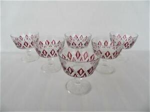 Vintage set 6  French Reims crystal burgundy Diamond shape  Footed Bowls Glasses