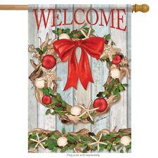 "Driftwood Wreath Christmas House Flag Shells Nautical Double Sided 28"" x 40"""