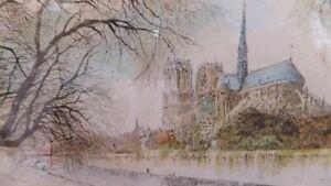 Henri le Riche (1868-1944) - Signed Original coloured Etching, Notre Dame Paris