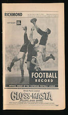 1969 VFL Football Record Richmond v Essendon April 7 Tigers Bombers