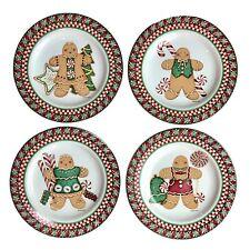 Debbie Mumm SWEET GINGERLAND Set of 4 Salad / Dessert PLATES Holiday NEW in BOX