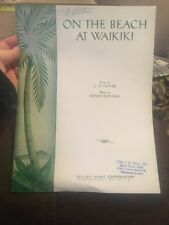 On The Beach At Waikiki GH Stover Henry Kailimai Songbook