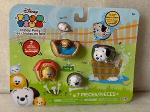 NEW Disney Tsum Tsum 7 pack PUPPY PARTY Color Change Lucky Kennel Dog Bed