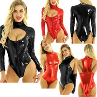 Sexy Women's Wet Look Leather Bodysuit Thong Catsuit Leotard One-piece Clubwear