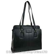 NEW Ladies Black LEATHER Grab Work Bag Handbag by GiGi Shoulder 70's Classic