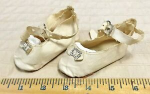 Antique 1930 Ivory White Oilcloth BIG Doll Shoes German Bisque Composition 3.75""