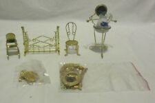 Small Lot of Dollhouse Miniature Items Furniture Etc All Brass or Gold Colored