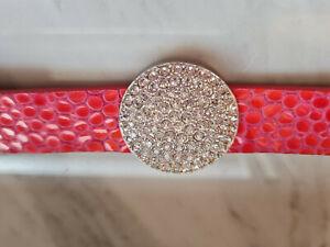Orig. Swarovski Armband silber / Leder pink 1,8cm breit TOP