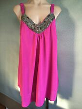 BNWT Womens Sz 14/16 Autograph Brand Hot Pink Bead Detail Cami Top RRP $60