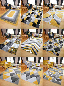 New Hand Carved Ochre Gold Grey Mustard Small Extra Large Size House Rugs Cheap