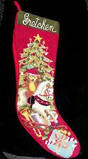 "Vintage Needlepoint ""Gretchen"" Personalized Christmas Stocking, Red Velvet Back"