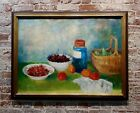 Andre Vignoles -French Fauvism Still life of Fruits & a Glass Jar- Oil painting