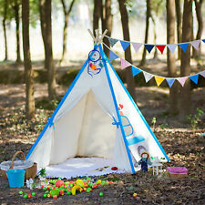 Square Cotton Canvas Kids Boys Blue Car Teepee Outdoor Tent w/ Floor Cushion Mat