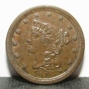 1857 Braided Hair Half Cent BROWN BU