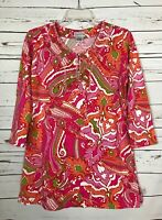 Soft Surroundings Women's S Small Pink Orange Spring Cute Tunic Top Blouse Shirt