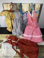 Lot Vintage Handmade Doll Dresses 60s Gold Pink Dots Checks Corduroy Cape