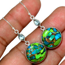 Blue Turquoise In Green Mohave - USA 925 Silver Earrings Jewelry AE152075