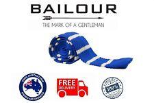 BAILOUR Tie Men's Luxury Handmade Blue & White Formal Casual Knitted Skinny