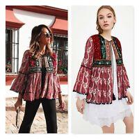 ZARA Womens Size S or 10 / US 6 Contrasting Velvet Embellished Jacket