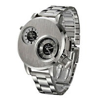 New Fashion Mens Stainless Steel Military Sport Quartz Analog Wrist Watch Silver