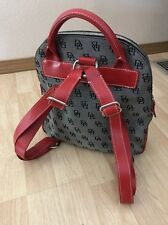 DOONEY & BOURKE Red Leather Black DB Print Backpack Purse