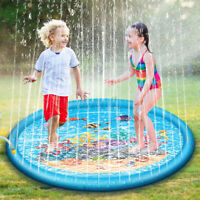 68'' Kids Children Sprinkler Splash Play Mat Pad Inflatable Summer Water Fun Toy