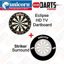 Unicorn Eclipse HD TV PDC Approved Dart Board PLUS BLACK Striker Surround