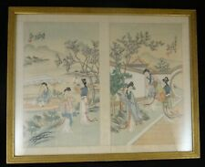 2 Antique Chinese Paintings on Silk in one gold color frame. c. 1st ½ 20th c.