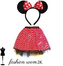 Fancy dress minnie mouse disney girls kids headband ears & tutu skirt costume