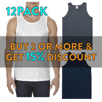 12 PACK AAA 1307 ALSTYLE MENS PLAIN TANK TOP ACTIVE SLEEVELESS COTTON MUSCLE TEE