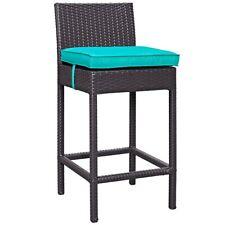 Modway Convene Outdoor Fabric Bar Stool, Espresso Turquoise - EEI-1006-EXP-TRQ