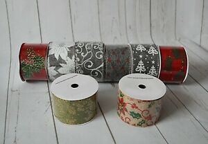 """Christmas Ribbon Wired Edge 2.5""""/ 6.5 cm x 9 metres gifting wrapping decorations"""