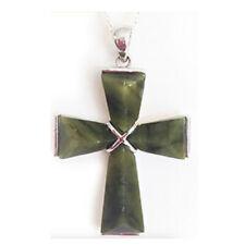 Irish Sterling Silver Connemara Marble Large Cross Necklace #1071