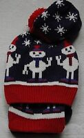Marks & Spencer  3 Piece Set  Hat, Scarf & Mittens.Age 18 - 36 Month Navy/Red.